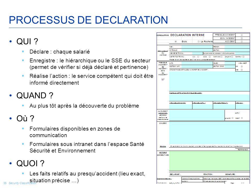 Security Classification 35 PROCESSUS DE DECLARATION QUI ?  Déclare : chaque salarié  Enregistre : le hiérarchique ou le SSE du secteur (permet de vé