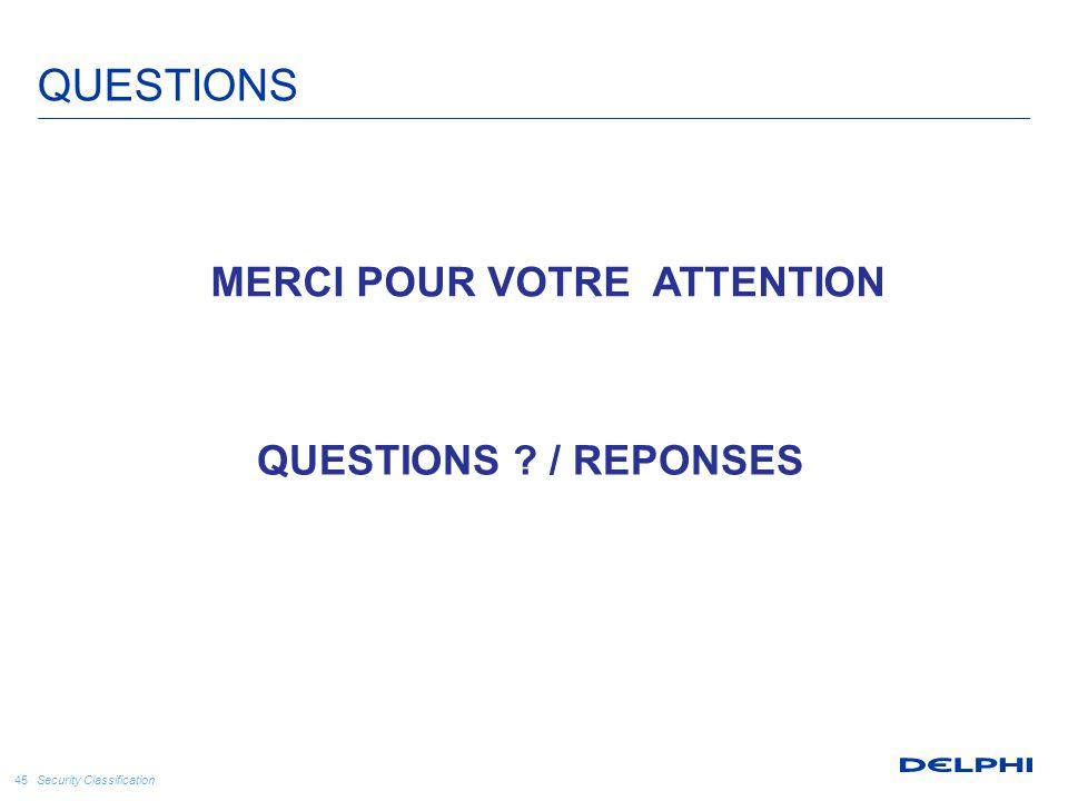 Security Classification 45 QUESTIONS QUESTIONS ? / REPONSES MERCI POUR VOTRE ATTENTION
