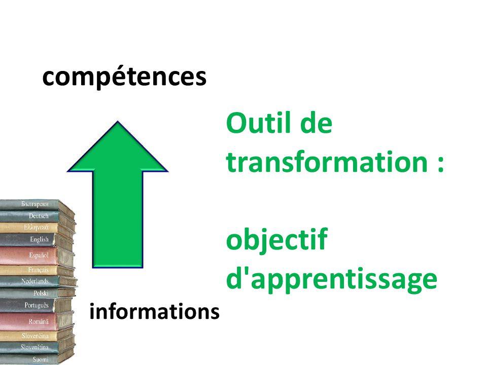 Outil de transformation : objectif d apprentissage informations compétences