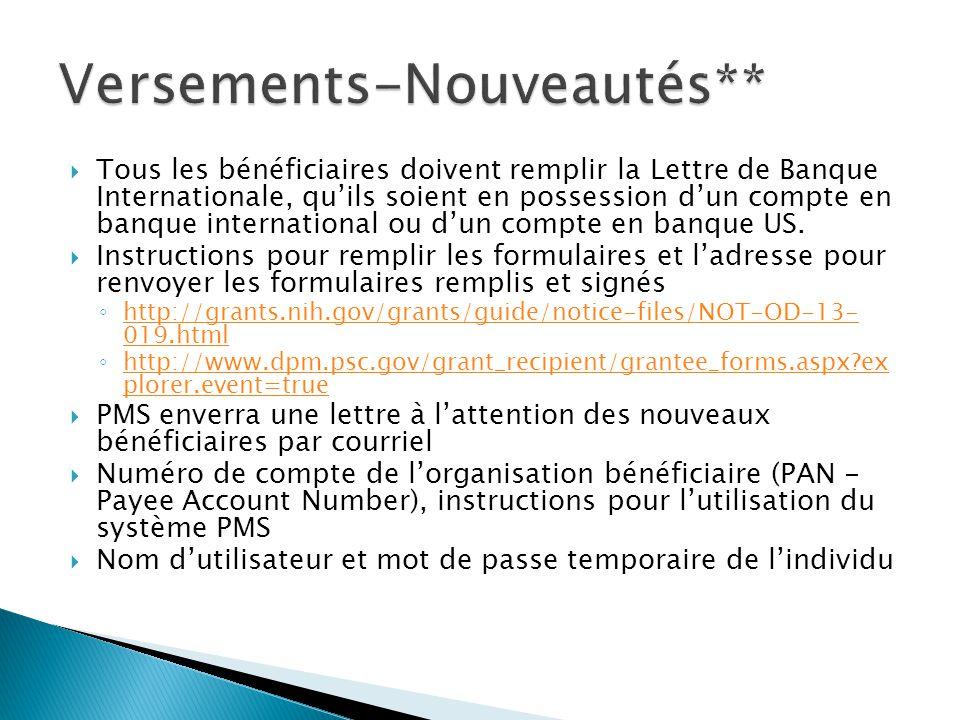  Tous les bénéficiaires doivent remplir la Lettre de Banque Internationale, qu'ils soient en possession d'un compte en banque international ou d'un compte en banque US.
