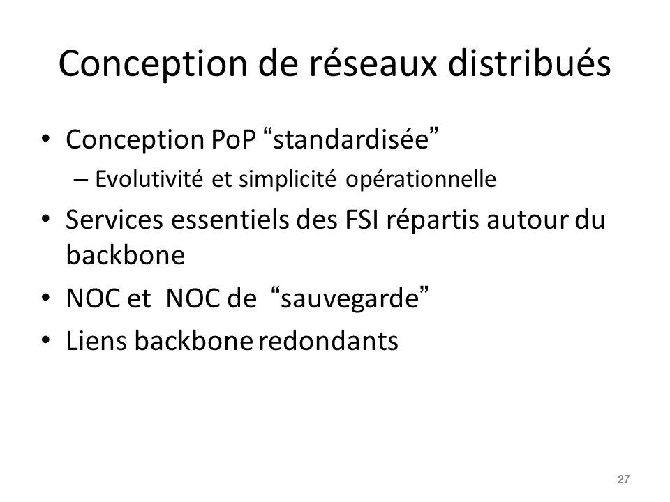 Conception de réseaux distribués Conception PoP standardisée – Evolutivité et simplicité opérationnelle Services essentiels des FSI répartis autour du backbone NOC et NOC de sauvegarde Liens backbone redondants 27