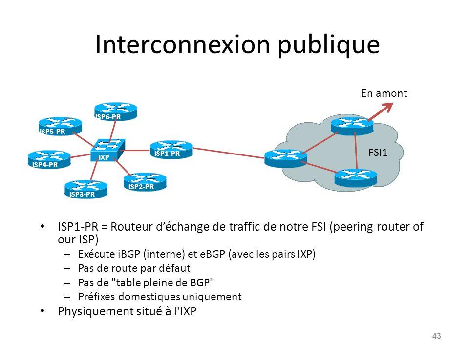 Interconnexion publique ISP1-PR = Routeur d'échange de traffic de notre FSI (peering router of our ISP) – Exécute iBGP (interne) et eBGP (avec les pairs IXP) – Pas de route par défaut – Pas de table pleine de BGP – Préfixes domestiques uniquement Physiquement situé à l IXP 43 ISP1-PR FSI1 En amont IXP ISP2-PR ISP3-PR ISP4-PR ISP5-PR ISP6-PR