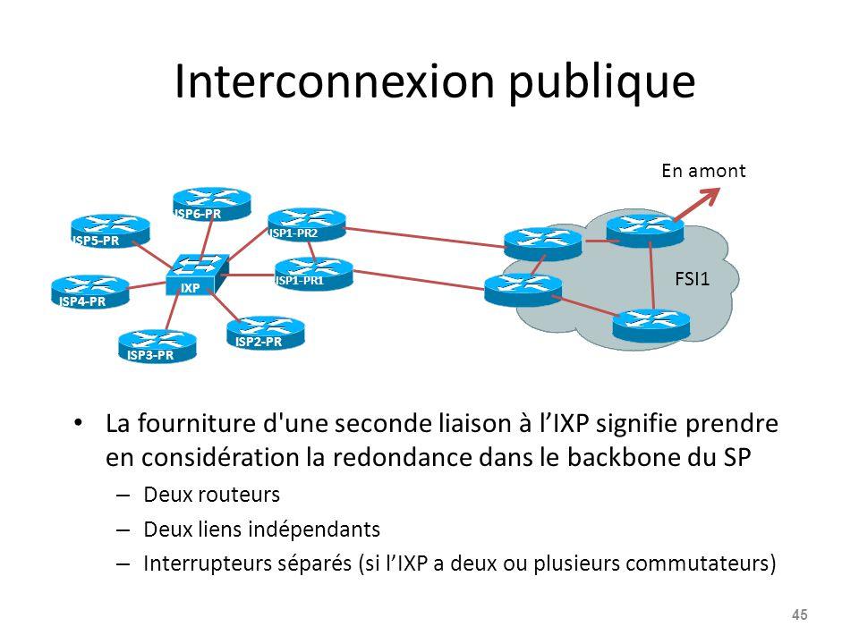 Interconnexion publique La fourniture d une seconde liaison à l'IXP signifie prendre en considération la redondance dans le backbone du SP – Deux routeurs – Deux liens indépendants – Interrupteurs séparés (si l'IXP a deux ou plusieurs commutateurs) 45 ISP1-PR1 FSI1 En amont IXP ISP2-PR ISP3-PR ISP4-PR ISP5-PR ISP6-PR ISP1-PR2