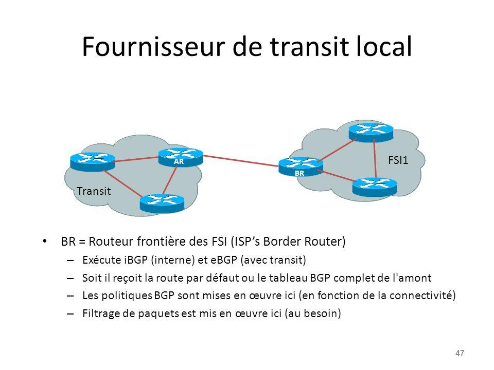 Fournisseur de transit local BR = Routeur frontière des FSI (ISP's Border Router) – Exécute iBGP (interne) et eBGP (avec transit) – Soit il reçoit la route par défaut ou le tableau BGP complet de l amont – Les politiques BGP sont mises en œuvre ici (en fonction de la connectivité) – Filtrage de paquets est mis en œuvre ici (au besoin) 47 AR BR Transit FSI1