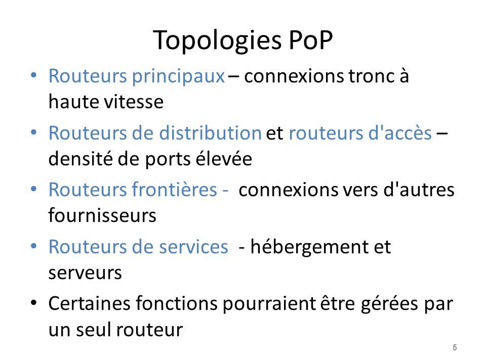 Topologies PoP Routeurs principaux – connexions tronc à haute vitesse Routeurs de distribution et routeurs d accès – densité de ports élevée Routeurs frontières - connexions vers d autres fournisseurs Routeurs de services - hébergement et serveurs Certaines fonctions pourraient être gérées par un seul routeur 5