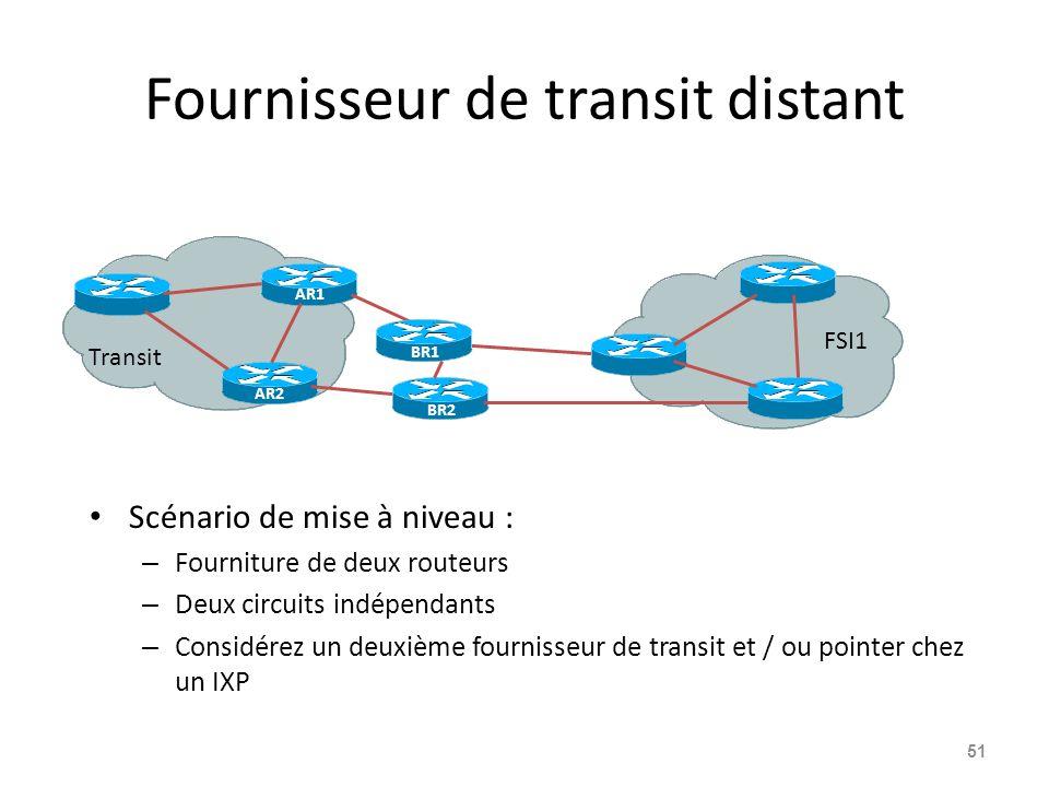 Fournisseur de transit distant Scénario de mise à niveau : – Fourniture de deux routeurs – Deux circuits indépendants – Considérez un deuxième fournisseur de transit et / ou pointer chez un IXP 51 AR1 Transit FSI1 BR1 AR2 BR2