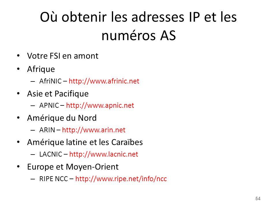 Où obtenir les adresses IP et les numéros AS Votre FSI en amont Afrique – AfriNIC – http://www.afrinic.net Asie et Pacifique – APNIC – http://www.apnic.net Amérique du Nord – ARIN – http://www.arin.net Amérique latine et les Caraïbes – LACNIC – http://www.lacnic.net Europe et Moyen-Orient – RIPE NCC – http://www.ripe.net/info/ncc 54