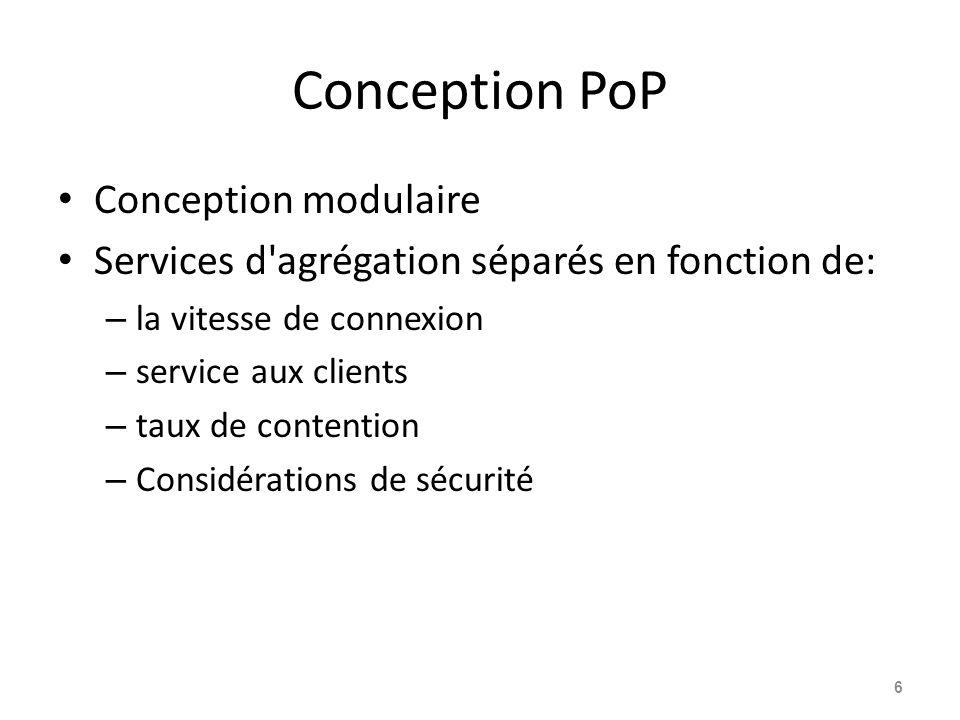 Conception PoP Conception modulaire Services d agrégation séparés en fonction de: – la vitesse de connexion – service aux clients – taux de contention – Considérations de sécurité 6