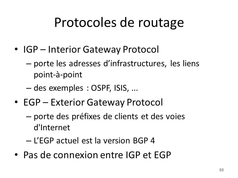 Protocoles de routage IGP – Interior Gateway Protocol – porte les adresses d'infrastructures, les liens point-à-point – des exemples : OSPF, ISIS,...