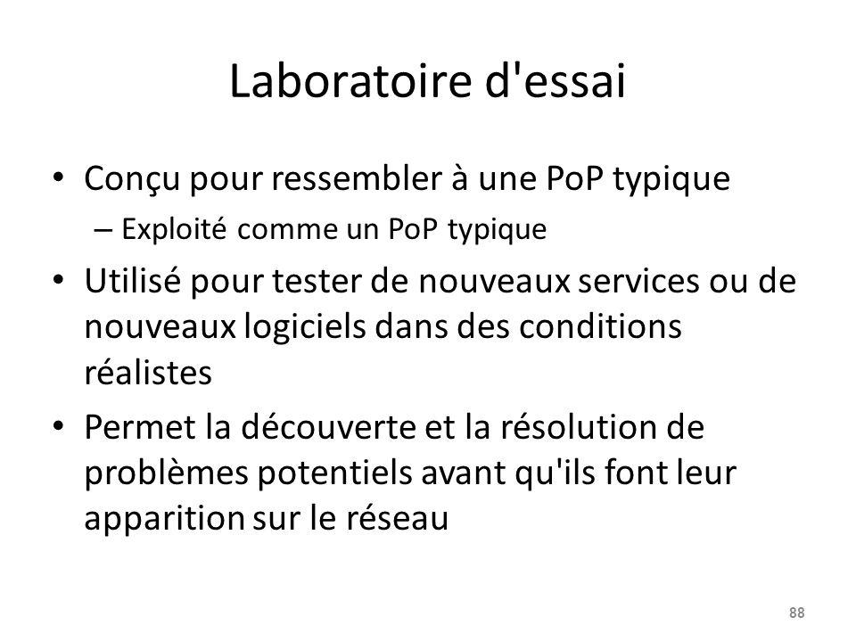 Laboratoire d essai Conçu pour ressembler à une PoP typique – Exploité comme un PoP typique Utilisé pour tester de nouveaux services ou de nouveaux logiciels dans des conditions réalistes Permet la découverte et la résolution de problèmes potentiels avant qu ils font leur apparition sur le réseau 88