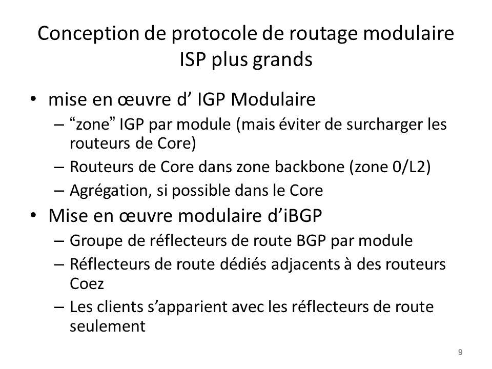 Conception de protocole de routage modulaire ISP plus grands mise en œuvre d' IGP Modulaire – zone IGP par module (mais éviter de surcharger les routeurs de Core) – Routeurs de Core dans zone backbone (zone 0/L2) – Agrégation, si possible dans le Core Mise en œuvre modulaire d'iBGP – Groupe de réflecteurs de route BGP par module – Réflecteurs de route dédiés adjacents à des routeurs Coez – Les clients s'apparient avec les réflecteurs de route seulement 9