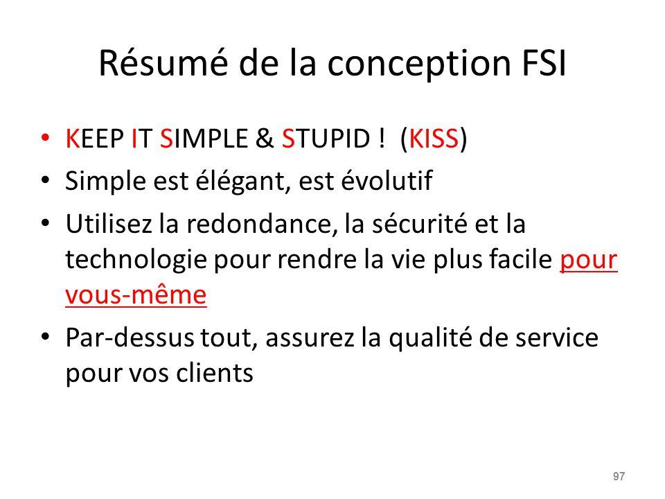 Résumé de la conception FSI KEEP IT SIMPLE & STUPID .