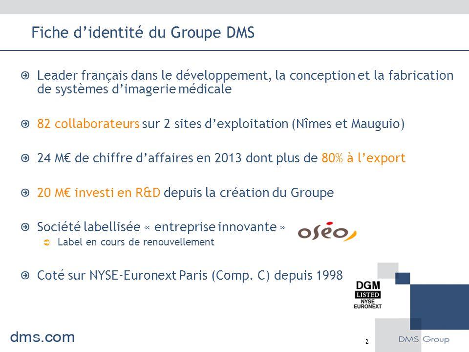 Fiche d'identité du Groupe DMS Leader français dans le développement, la conception et la fabrication de systèmes d'imagerie médicale 82 collaborateur