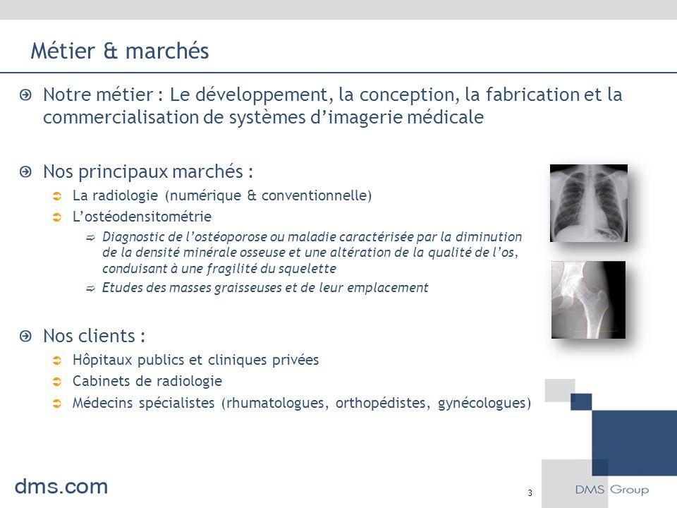 Métier & marchés Notre métier : Le développement, la conception, la fabrication et la commercialisation de systèmes d'imagerie médicale Nos principaux