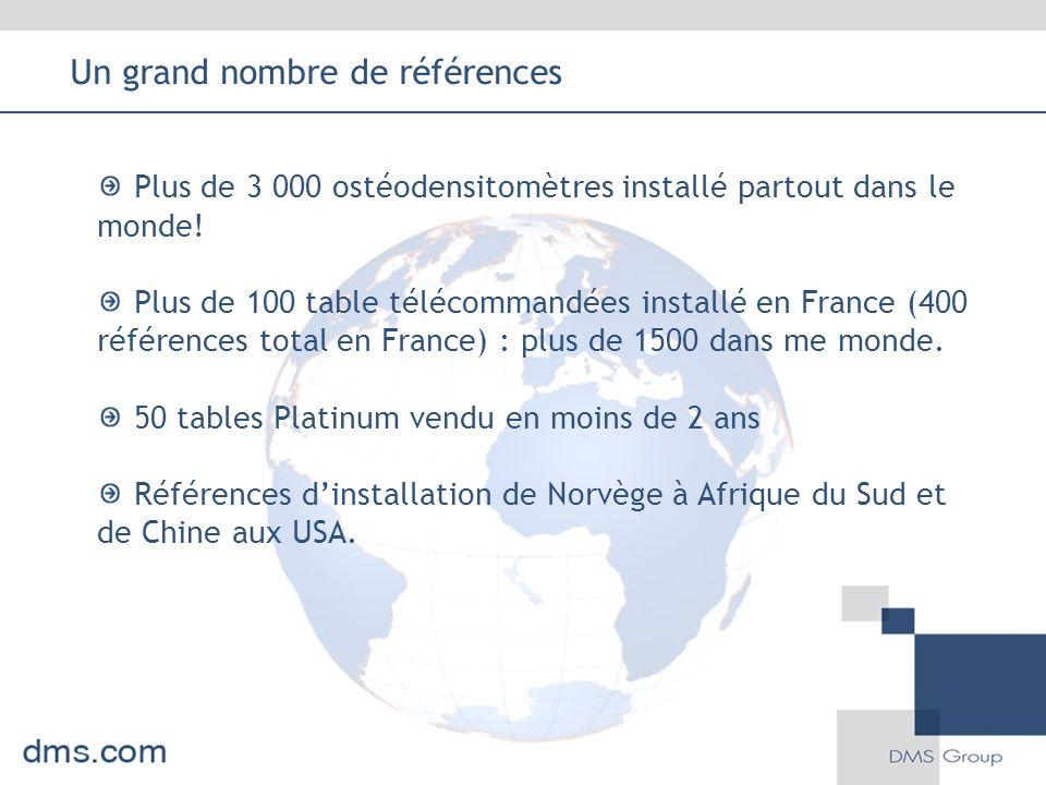 Plus de 3 000 ostéodensitomètres installé partout dans le monde! Plus de 100 table télécommandées installé en France (400 références total en France)