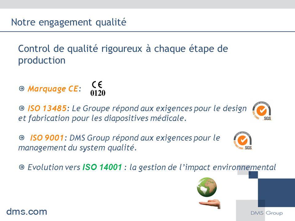 Control de qualité rigoureux à chaque étape de production Marquage CE: ISO 13485: Le Groupe répond aux exigences pour le design et fabrication pour le