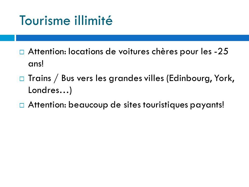 Tourisme illimité  Attention: locations de voitures chères pour les -25 ans.
