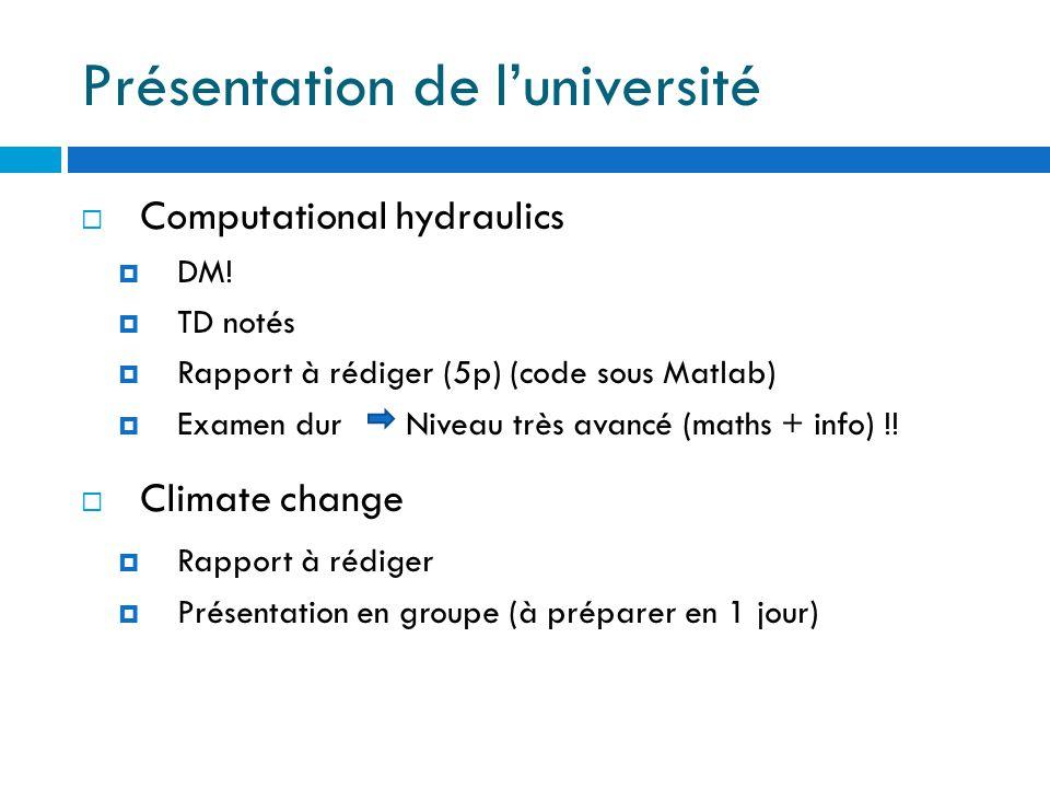 Présentation de l'université  Computational hydraulics  DM.
