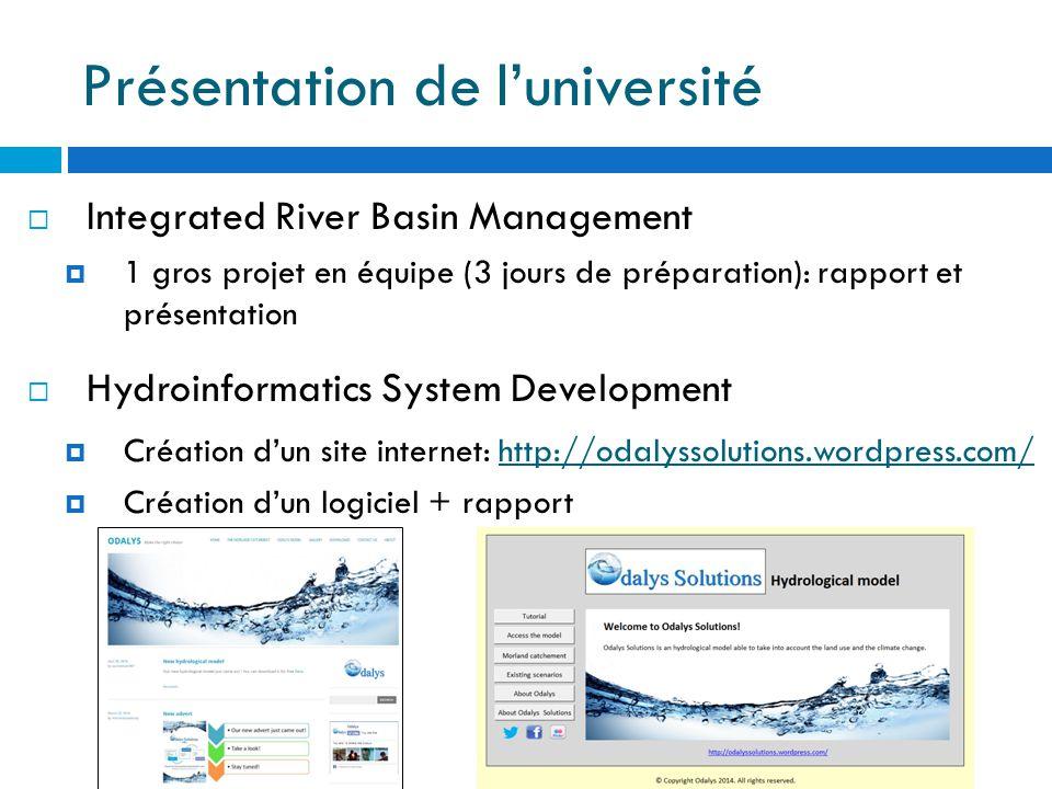 Présentation de l'université  Integrated River Basin Management  1 gros projet en équipe (3 jours de préparation): rapport et présentation  Hydroinformatics System Development  Création d'un site internet: http://odalyssolutions.wordpress.com/http://odalyssolutions.wordpress.com/  Création d'un logiciel + rapport
