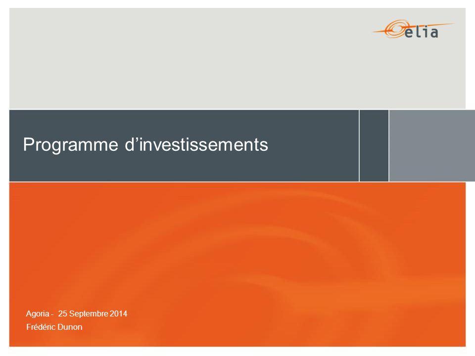 Programme d'investissements Frédéric Dunon Agoria - 25 Septembre 2014