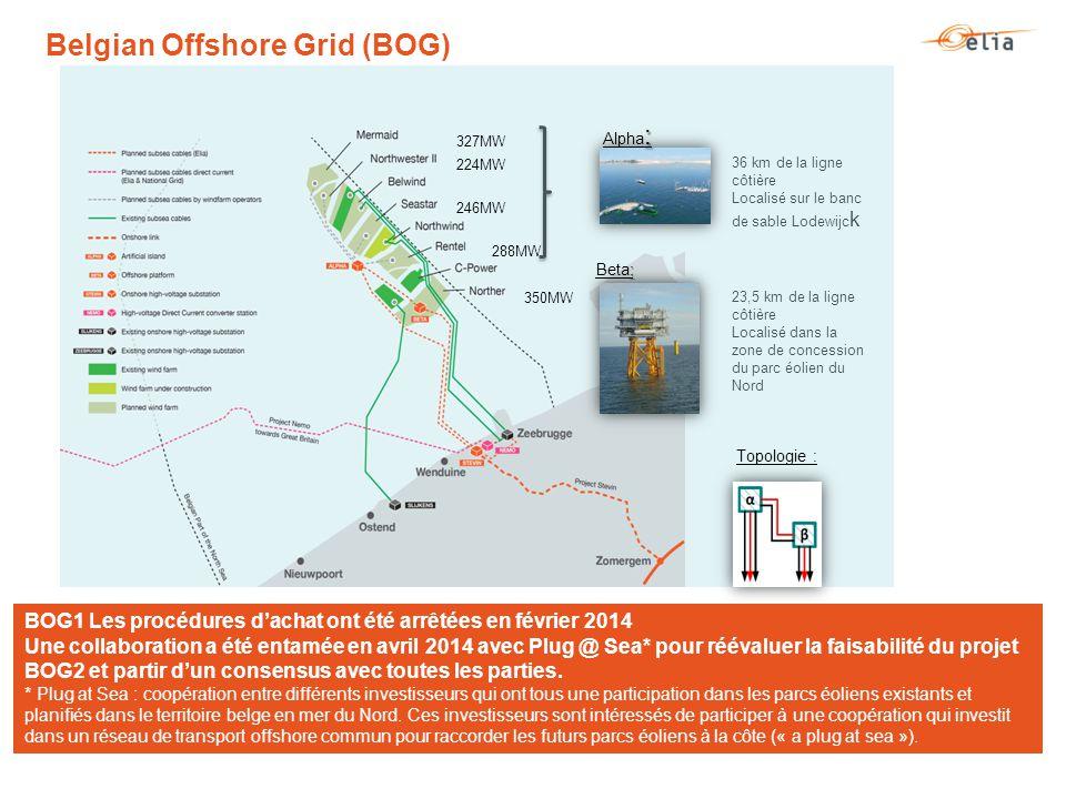 : Alpha : : Beta: 350MW 288MW 246MW 224MW 327MW 23,5 km de la ligne côtière Localisé dans la zone de concession du parc éolien du Nord 36 km de la ligne côtière Localisé sur le banc de sable Lodewijc k Topologie : BOG1 Les procédures d'achat ont été arrêtées en février 2014 Une collaboration a été entamée en avril 2014 avec Plug @ Sea* pour réévaluer la faisabilité du projet BOG2 et partir d'un consensus avec toutes les parties.
