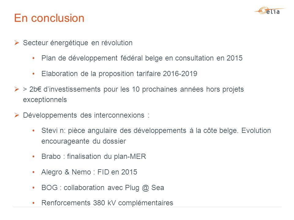  Secteur énergétique en révolution Plan de développement fédéral belge en consultation en 2015 Elaboration de la proposition tarifaire 2016-2019  > 2b€ d'investissements pour les 10 prochaines années hors projets exceptionnels  Développements des interconnexions : Stevi n: pièce angulaire des développements à la côte belge.