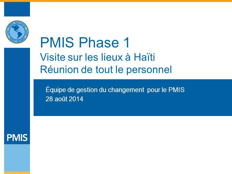 PMIS Phase 1 Visite sur les lieux à Haïti Réunion de tout le personnel  Équipe de gestion du changement pour le PMIS  28 août 2014