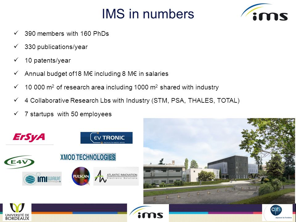 Collaborative Research Labs With STMicroelectronics  Analog and Mixed RF  Technology Modeling and Characterization With PSA  Global Control of Automotive Chassis  Dynamic Identification of the Drivers With TOTAL  Seismic imaging With THALES  Embedded Systems for Aeronautics