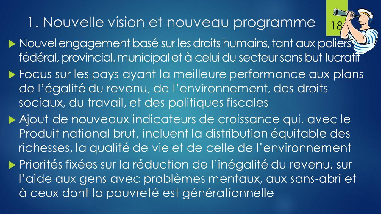 1. Nouvelle vision et nouveau programme  Nouvel engagement basé sur les droits humains, tant aux paliers fédéral, provincial, municipal et à celui du