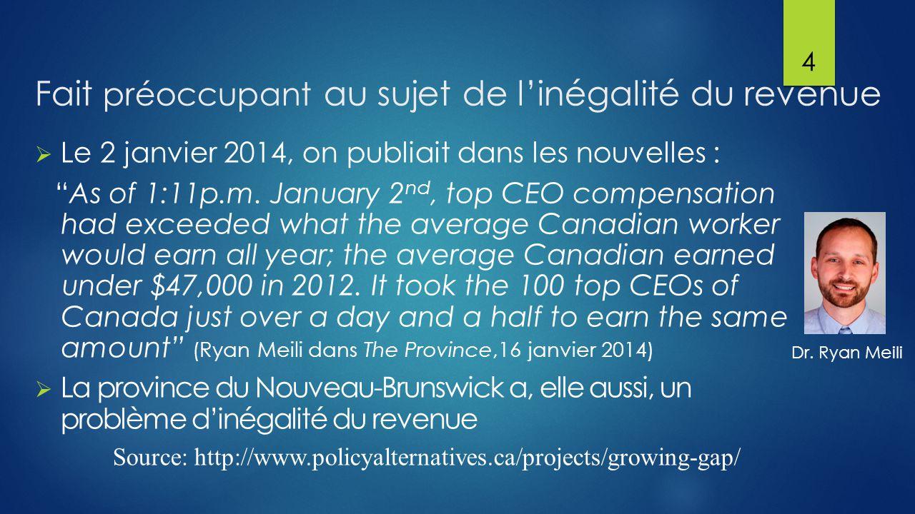 Fait préoccupant au sujet de l'inégalité du revenue  Le 2 janvier 2014, on publiait dans les nouvelles : As of 1:11p.m.