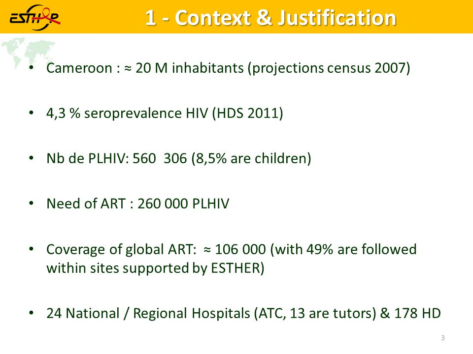 1 - Context & Justification Cameroon : ≈ 20 M inhabitants (projections census 2007) 4,3 % seroprevalence HIV (HDS 2011) Nb de PLHIV: 560 306 (8,5% are children) Need of ART : 260 000 PLHIV Coverage of global ART: ≈ 106 000 (with 49% are followed within sites supported by ESTHER) 24 National / Regional Hospitals (ATC, 13 are tutors) & 178 HD 3