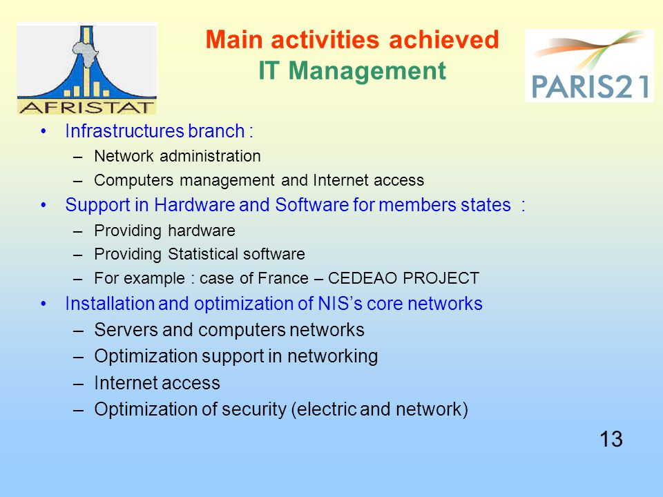 Main activities achieved IT Management Infrastructures branch : –Network administration –Computers management and Internet access Support in Hardware and Software for members states : –Providing hardware –Providing Statistical software –For example : case of France – CEDEAO PROJECT Installation and optimization of NIS's core networks –Servers and computers networks –Optimization support in networking –Internet access –Optimization of security (electric and network) 13