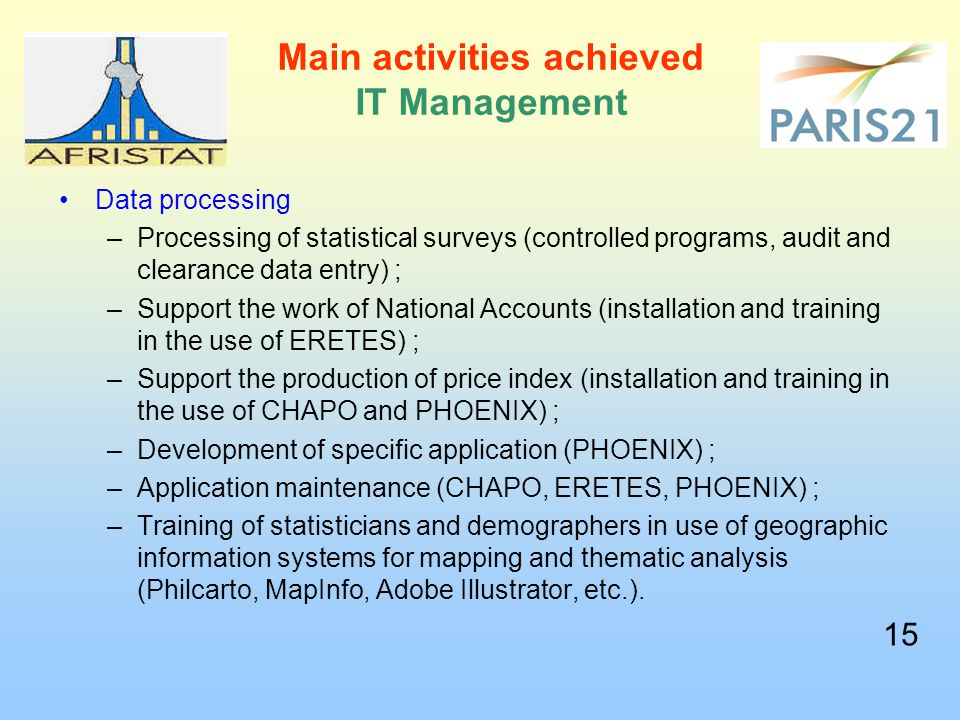 Main activities achieved IT Management Data processing –Processing of statistical surveys (controlled programs, audit and clearance data entry) ; –Support the work of National Accounts (installation and training in the use of ERETES) ; –Support the production of price index (installation and training in the use of CHAPO and PHOENIX) ; –Development of specific application (PHOENIX) ; –Application maintenance (CHAPO, ERETES, PHOENIX) ; –Training of statisticians and demographers in use of geographic information systems for mapping and thematic analysis (Philcarto, MapInfo, Adobe Illustrator, etc.).
