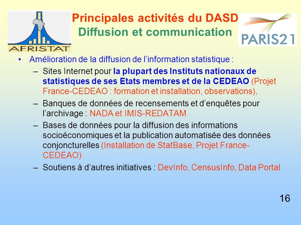 Principales activités du DASD Diffusion et communication Amélioration de la diffusion de l'information statistique : –Sites Internet pour la plupart d