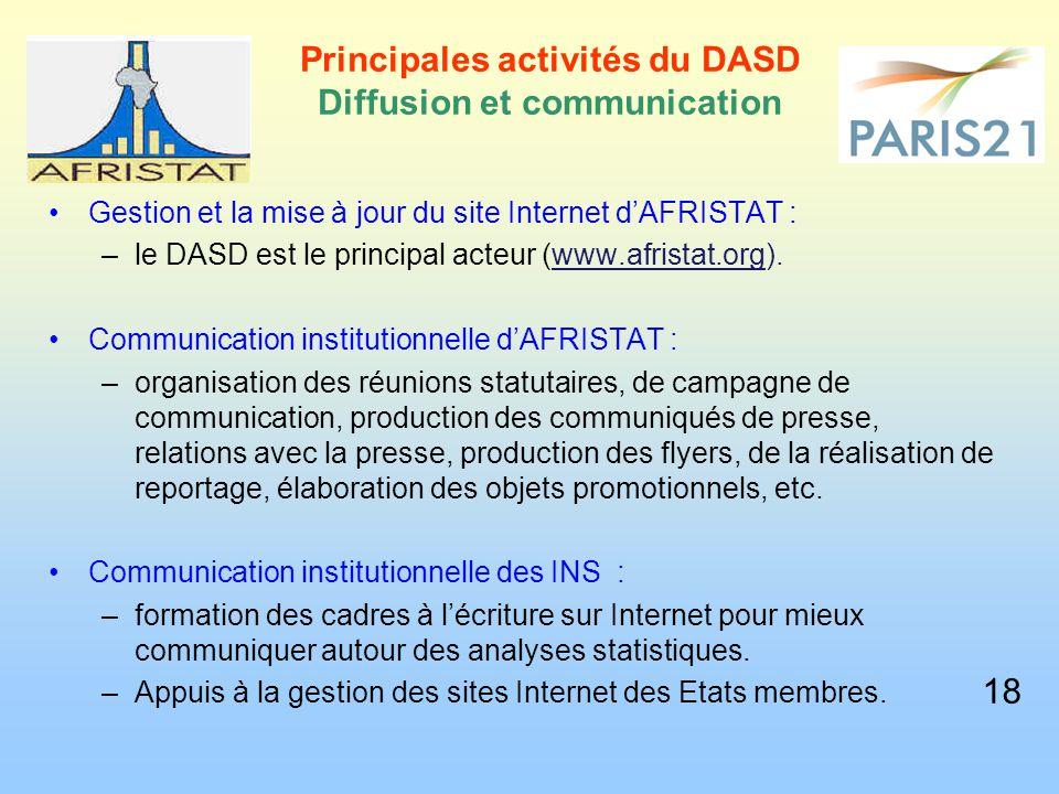 Gestion et la mise à jour du site Internet d'AFRISTAT : –le DASD est le principal acteur (www.afristat.org). Communication institutionnelle d'AFRISTAT