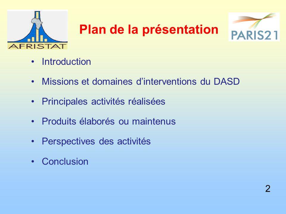 Plan de la présentation Introduction Missions et domaines d'interventions du DASD Principales activités réalisées Produits élaborés ou maintenus Perspectives des activités Conclusion 2