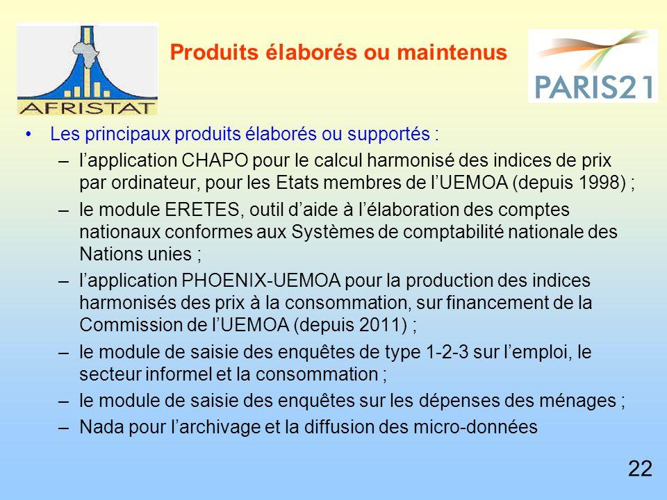 Produits élaborés ou maintenus Les principaux produits élaborés ou supportés : –l'application CHAPO pour le calcul harmonisé des indices de prix par ordinateur, pour les Etats membres de l'UEMOA (depuis 1998) ; –le module ERETES, outil d'aide à l'élaboration des comptes nationaux conformes aux Systèmes de comptabilité nationale des Nations unies ; –l'application PHOENIX-UEMOA pour la production des indices harmonisés des prix à la consommation, sur financement de la Commission de l'UEMOA (depuis 2011) ; –le module de saisie des enquêtes de type 1-2-3 sur l'emploi, le secteur informel et la consommation ; –le module de saisie des enquêtes sur les dépenses des ménages ; –Nada pour l'archivage et la diffusion des micro-données 22
