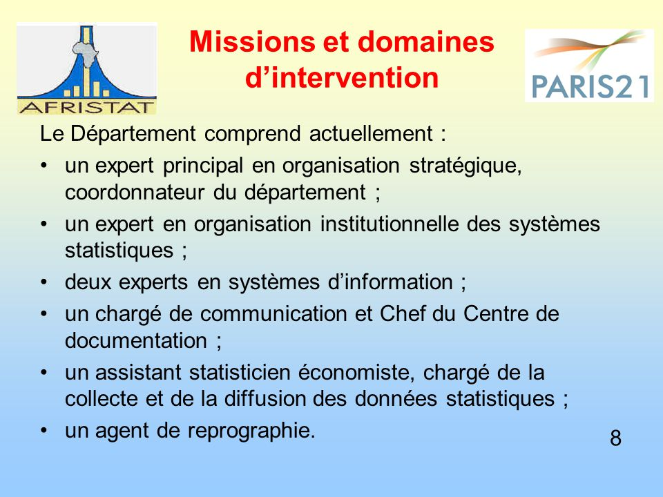 Missions et domaines d'intervention Le Département comprend actuellement : un expert principal en organisation stratégique, coordonnateur du départeme