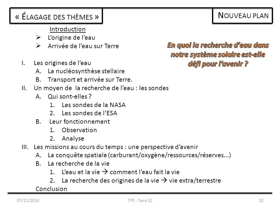 07/11/2014TPE - 1ere S210 « É LAGAGE DES THÈMES » Introduction  L'origine de l'eau  Arrivée de l'eau sur Terre I.Les origines de l'eau A.La nucléosynthèse stellaire B.Transport et arrivée sur Terre.