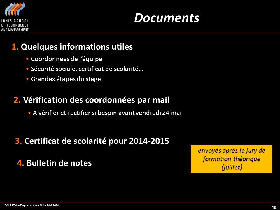 IONIS STM – Départ stage – M2 – Mai 2014 10 Documents 1. Quelques informations utiles Coordonnées de l'équipe Sécurité sociale, certificat de scolarit