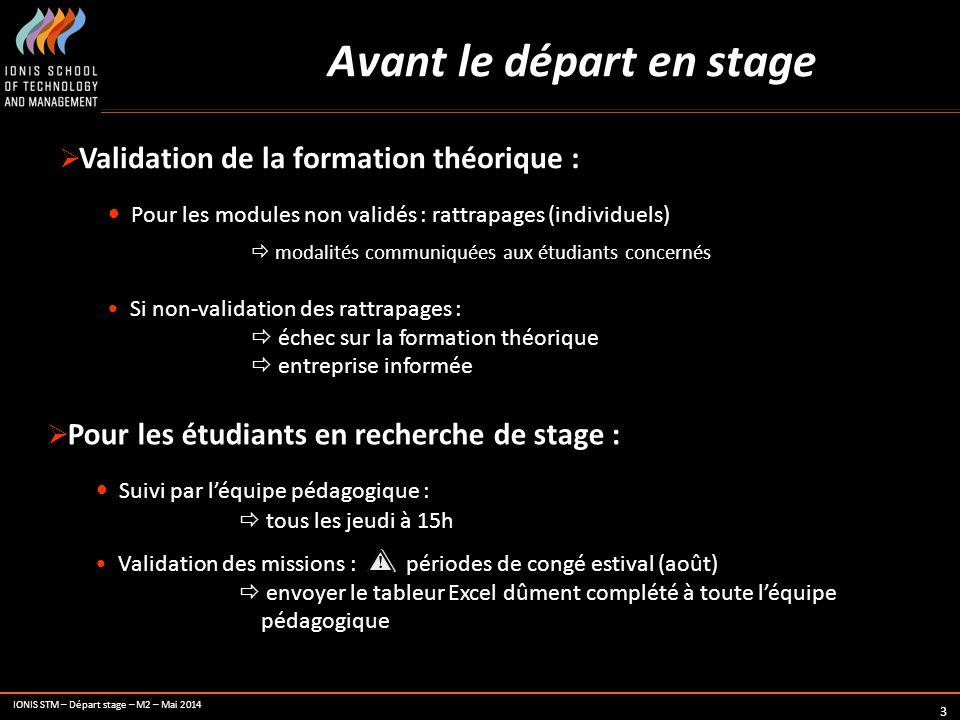 IONIS STM – Départ stage – M2 – Mai 2014 3 Avant le départ en stage  Validation de la formation théorique : Pour les modules non validés : rattrapage