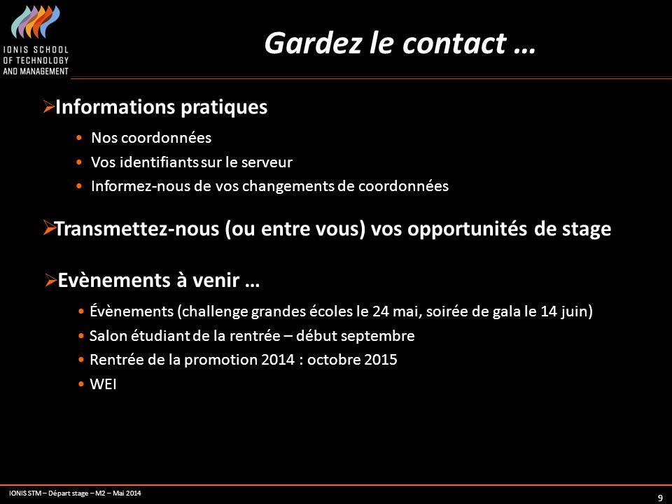 IONIS STM – Départ stage – M2 – Mai 2014 9 Gardez le contact …  Informations pratiques Nos coordonnées Vos identifiants sur le serveur Informez-nous