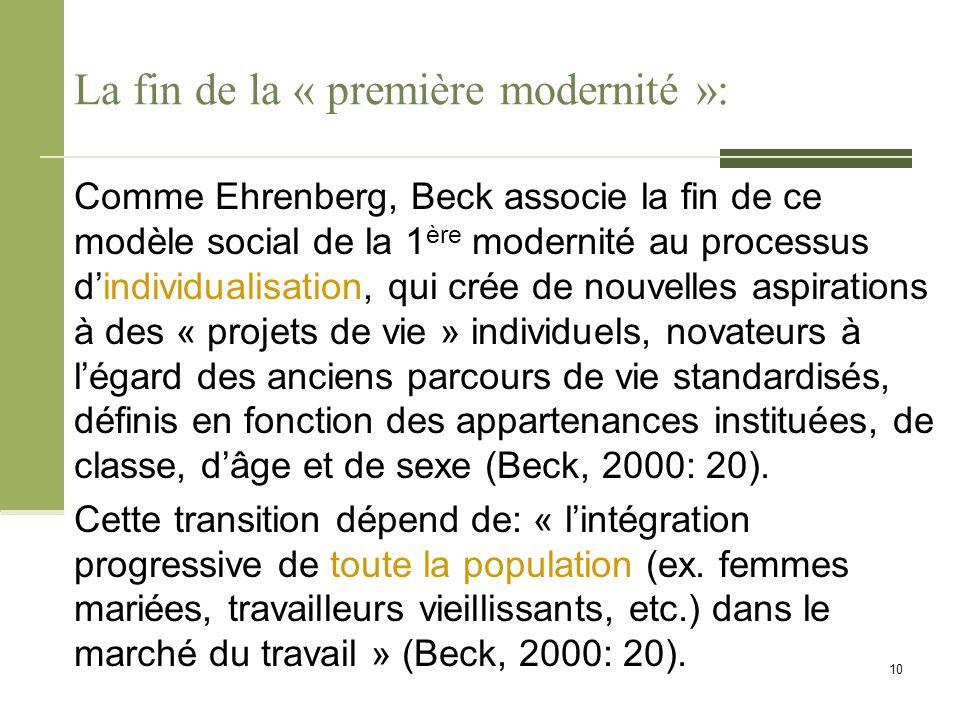 La fin de la « première modernité »: Comme Ehrenberg, Beck associe la fin de ce modèle social de la 1 ère modernité au processus d'individualisation,