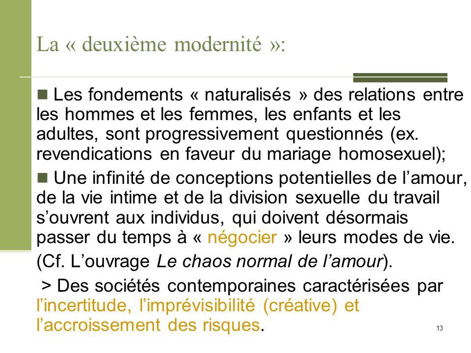La « deuxième modernité »: Les fondements « naturalisés » des relations entre les hommes et les femmes, les enfants et les adultes, sont progressiveme