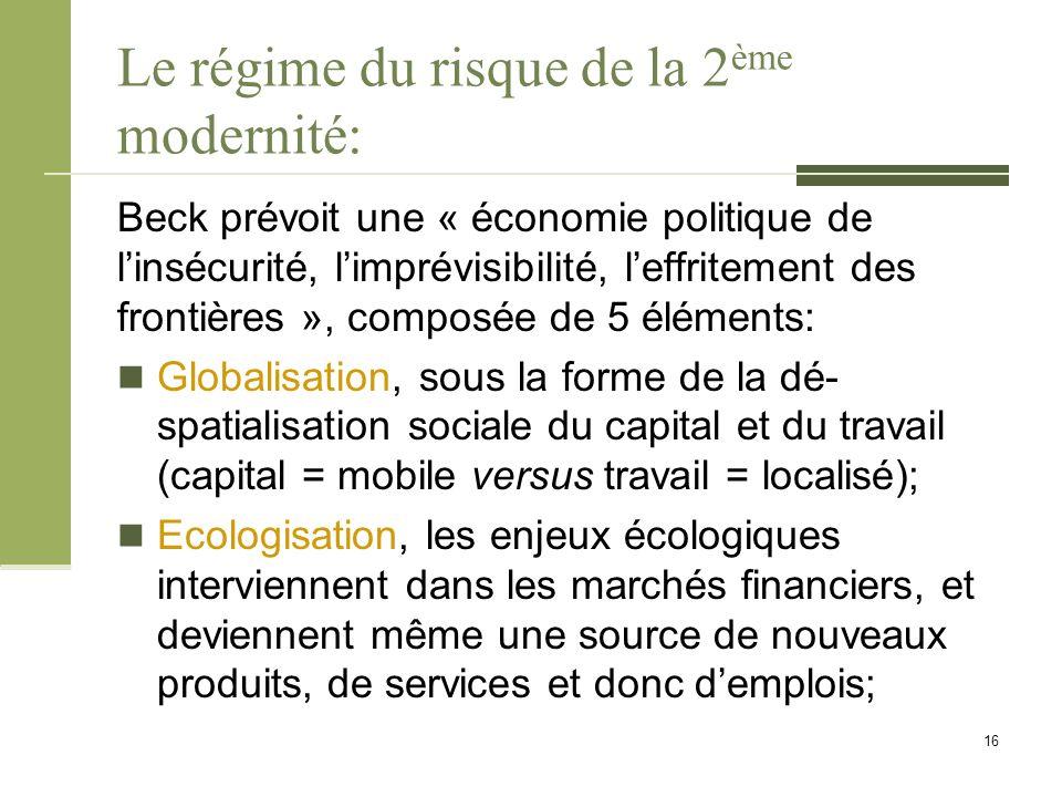 Le régime du risque de la 2 ème modernité: Beck prévoit une « économie politique de l'insécurité, l'imprévisibilité, l'effritement des frontières », c