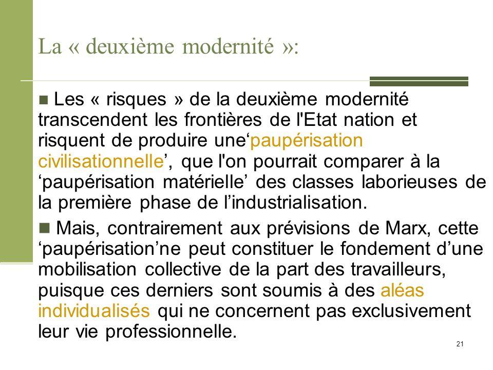 La « deuxième modernité »: Les « risques » de la deuxième modernité transcendent les frontières de l'Etat nation et risquent de produire une'paupérisa