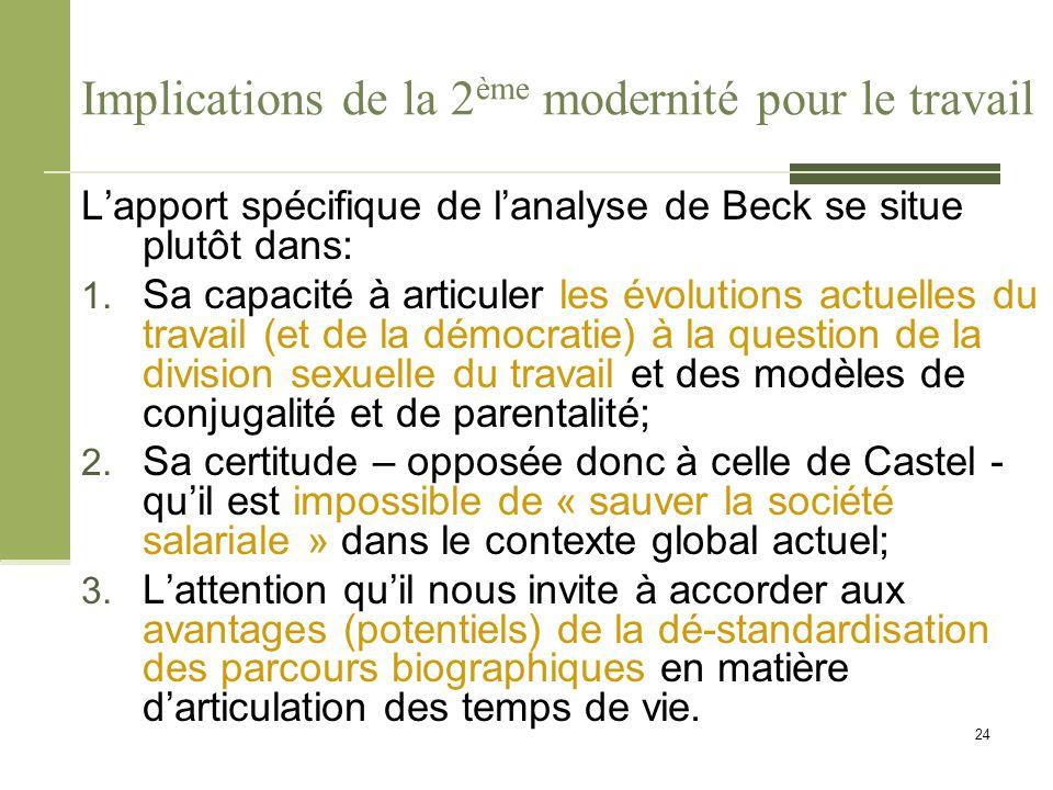Implications de la 2 ème modernité pour le travail L'apport spécifique de l'analyse de Beck se situe plutôt dans: 1. Sa capacité à articuler les évolu