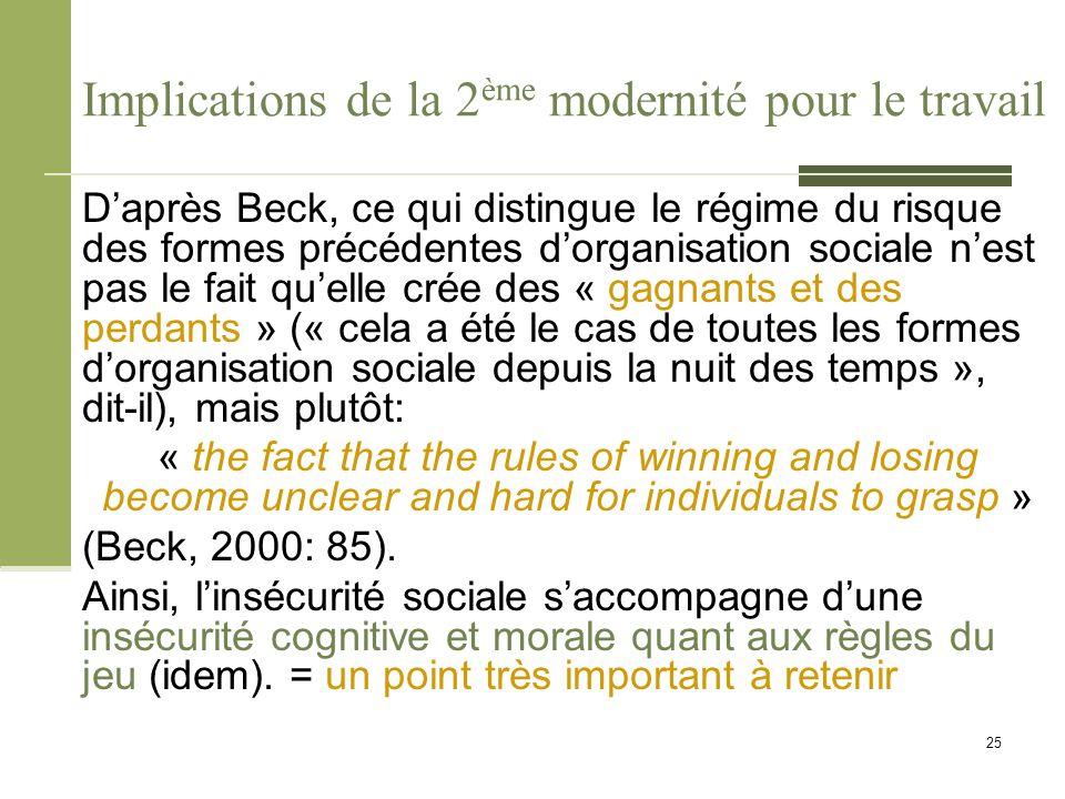 Implications de la 2 ème modernité pour le travail D'après Beck, ce qui distingue le régime du risque des formes précédentes d'organisation sociale n'