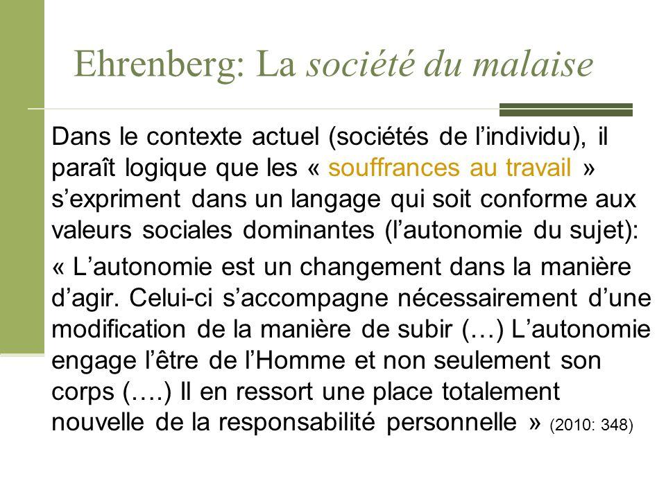 Ehrenberg: La société du malaise Dans le contexte actuel (sociétés de l'individu), il paraît logique que les « souffrances au travail » s'expriment da