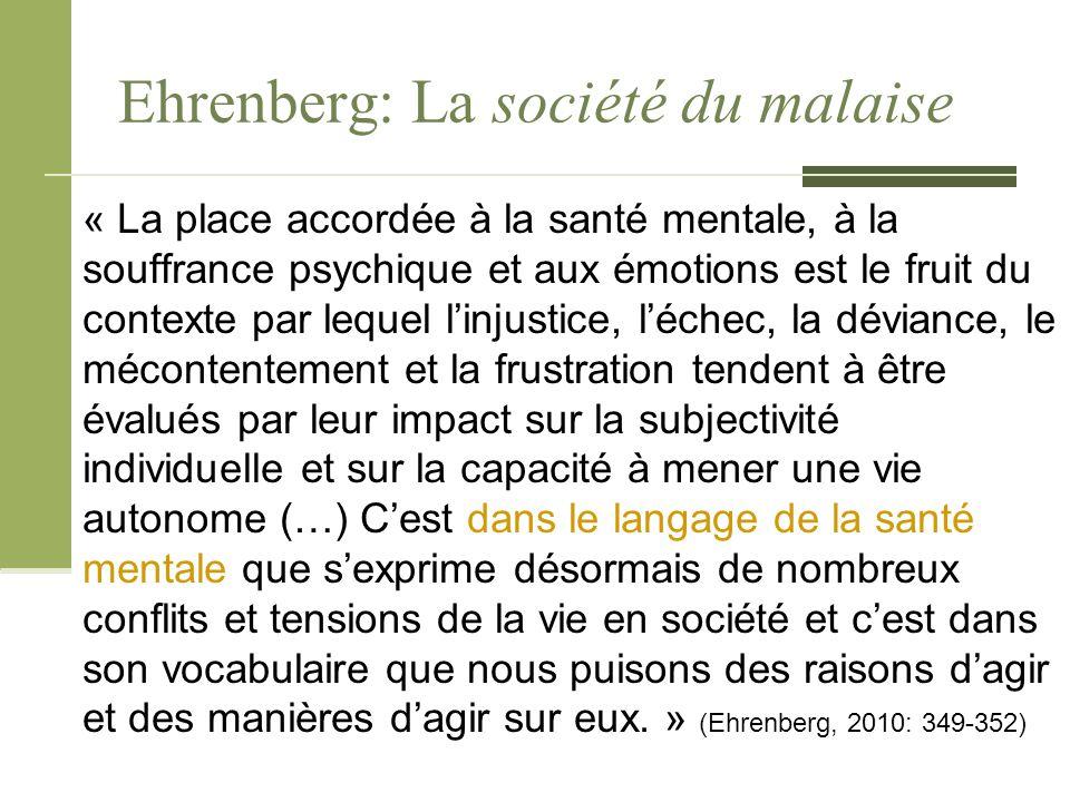 Ehrenberg: La société du malaise « La place accordée à la santé mentale, à la souffrance psychique et aux émotions est le fruit du contexte par lequel